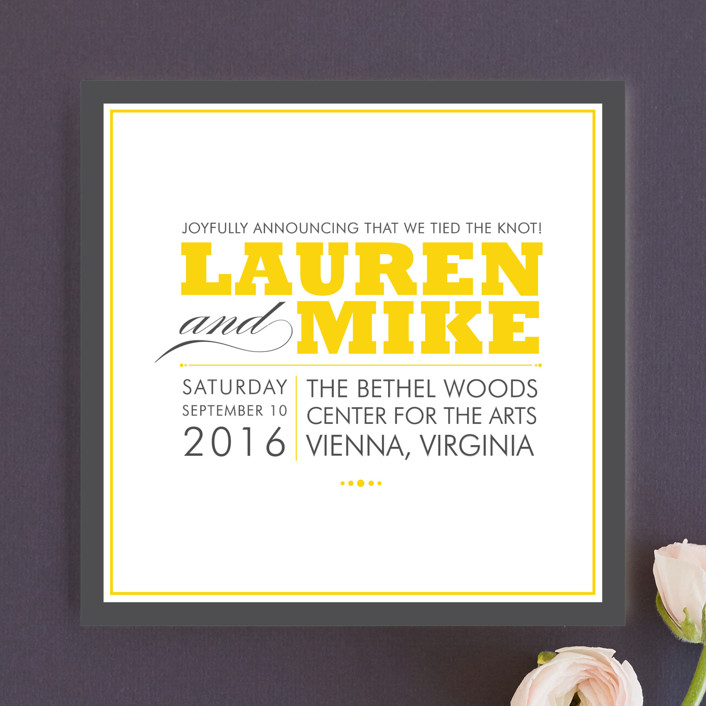 """Cocktail Hour"" - Modern Wedding Announcements in Golden Yellow by Ariel Rutland."
