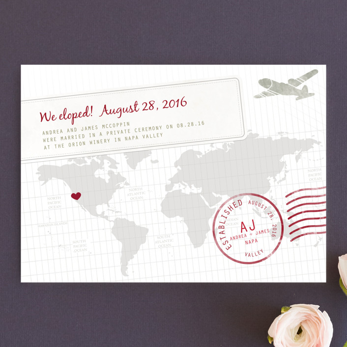 """A Faraway Destination"" - Destination Wedding Announcements in Deep Red by bumble ink."