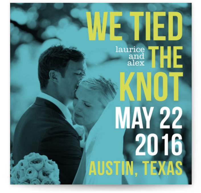 This is a square modern, blue Wedding Announcements by Alex Elko Design called Love Bop with Standard printing on Signature in Classic Flat Card format. Share your exciting news with friends and family by choosing one of Minted's unique Wedding ...