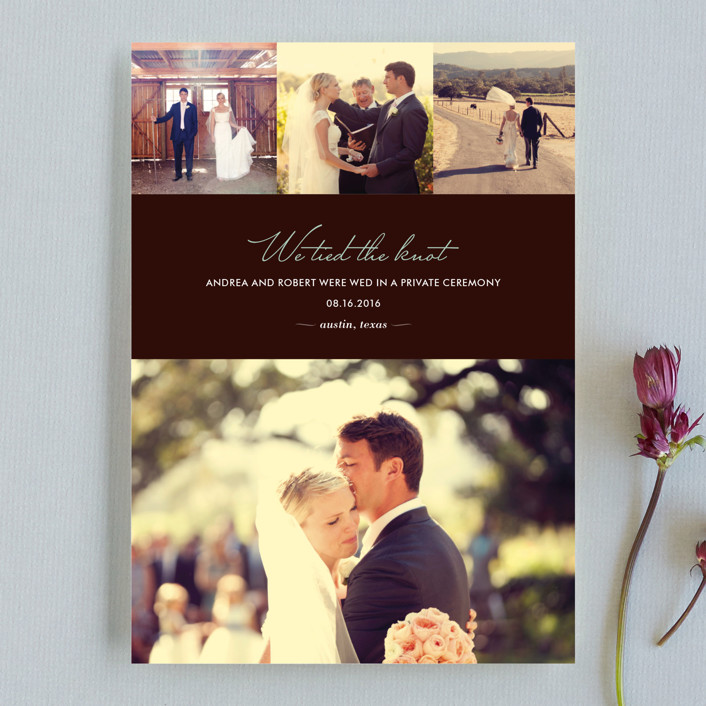 """""""Chic"""" - Modern, Classical Wedding Announcements in Chocolate by kelli hall."""