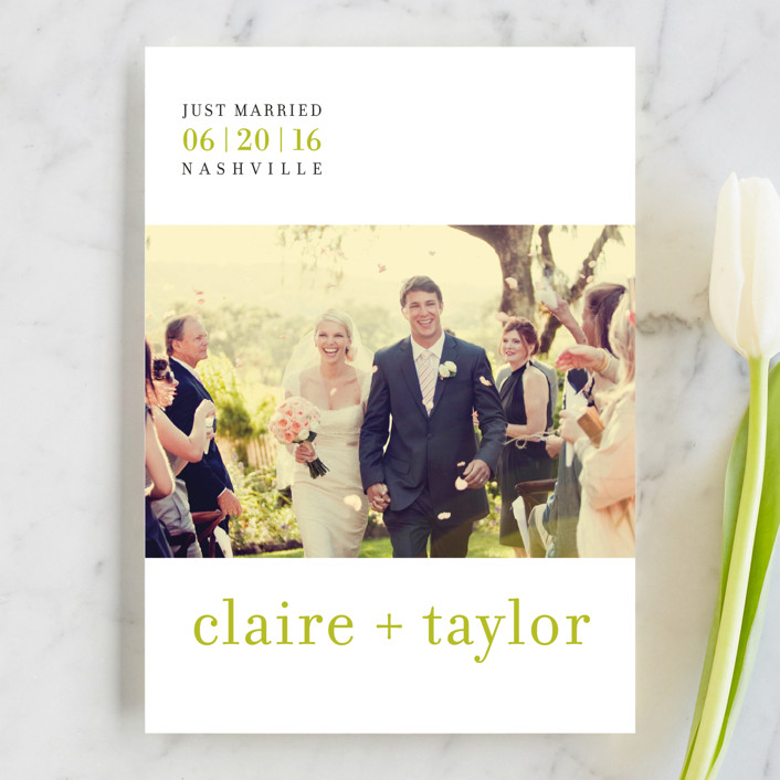 """float + celebrate"" - Modern Wedding Announcements in Celery by Float Paperie."
