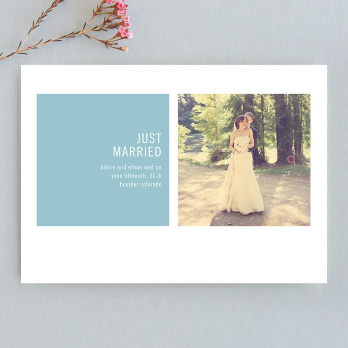 """Modern Geometric"" - Modern, Formal Wedding Announcements in Sky Blue by Precious Bugarin Design."