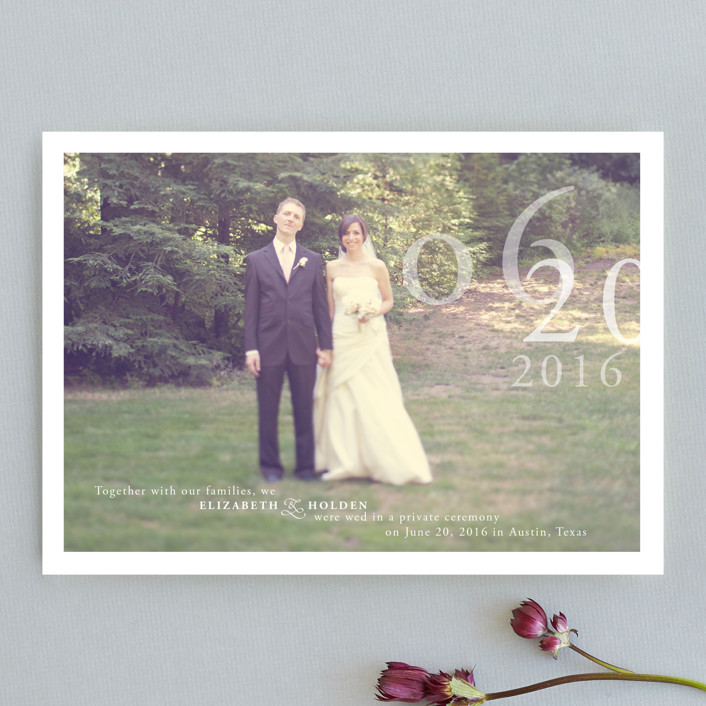 """Belle Memoire   "" - Modern, Simple Wedding Announcements in Pure White by Helena Seo Design."