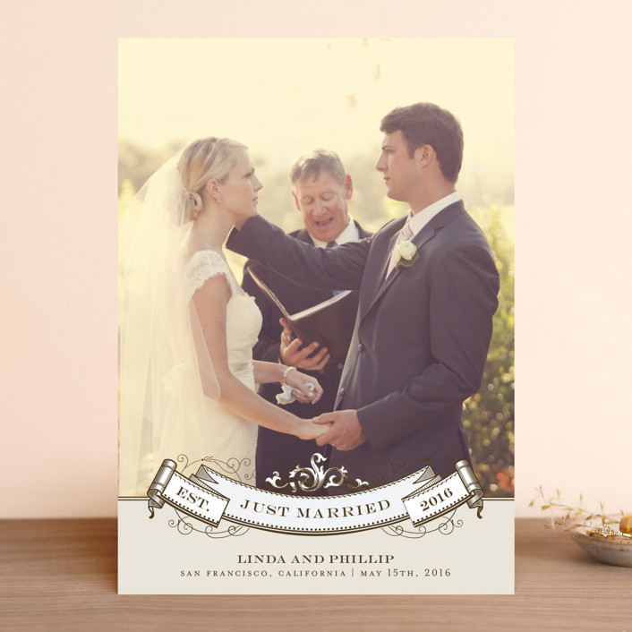 """Celebration"" - Vintage Wedding Announcements in Mocha by Milkmaid Press."