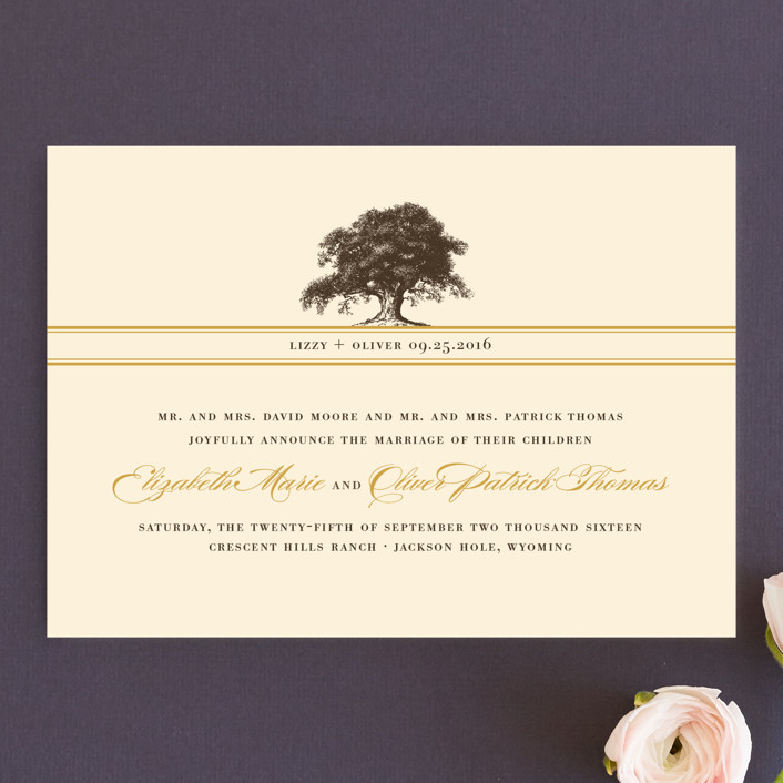 """Oak Tree"" - Elegant, Floral & Botanical Wedding Announcements in Butterscotch by annie clark."