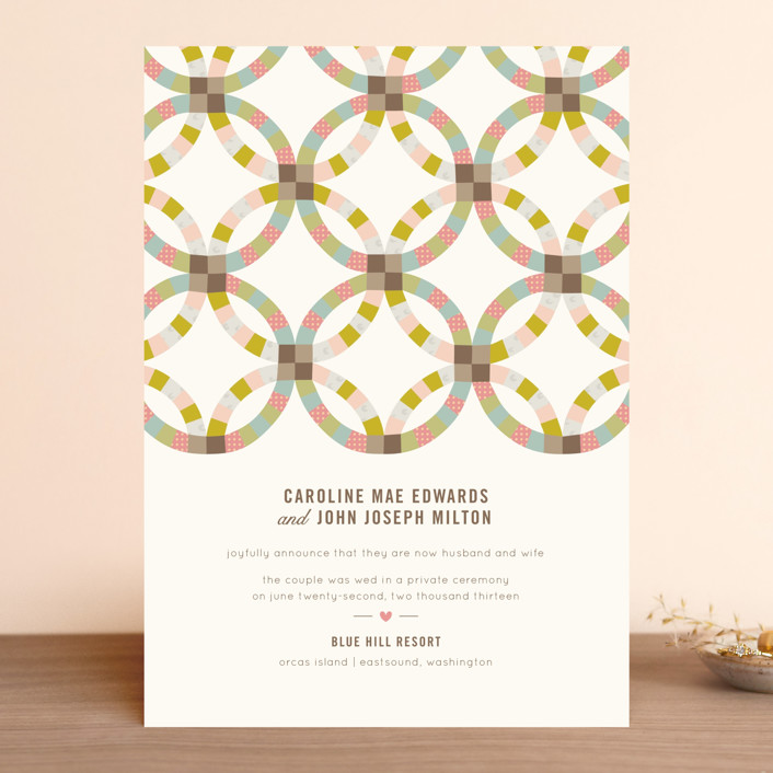"""Quilted"" - Vintage, Rustic Wedding Announcements in Sherbert by Laura Hankins."