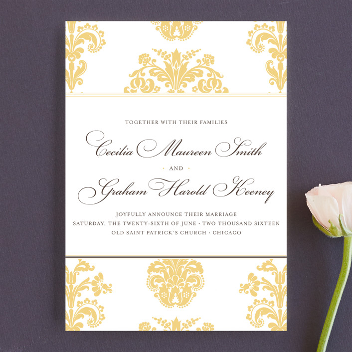 """Float + Bridal Brocade"" - Elegant, Formal Wedding Announcements in Sunflower by Float Paperie."