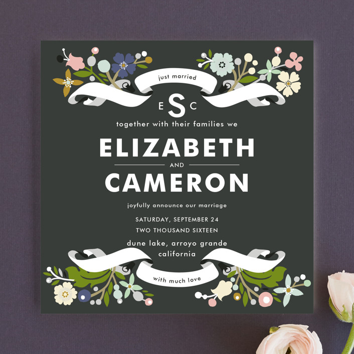 """""""Banner and Branches"""" - Floral & Botanical Wedding Announcements in Soft Beige by Alethea and Ruth."""