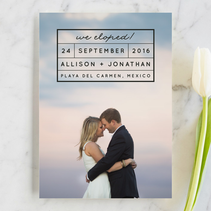 """""""Light and Airy"""" - Modern, Simple Wedding Announcements in Ebony by Shirley Lin Schneider."""