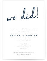 This is a blue wedding announcement by Phrosne Ras called Funky Names with standard printing on signature in standard.