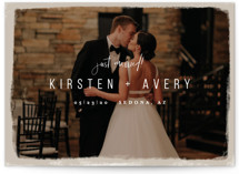 This is a brown wedding announcement by Melissa Egan of Pistols called Kindred with standard printing on signature in standard.