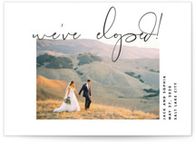 This is a black wedding announcement by Kimberly FitzSimons called Offbeat with standard printing on signature in standard.