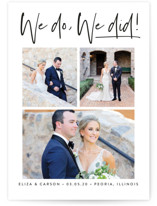 This is a white wedding announcement by Susan Asbill called our gallery with standard printing on signature in standard.