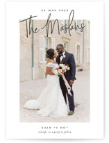 This is a black wedding announcement by Stacey Meacham called Signature names with standard printing on signature in standard.