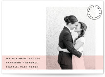 This is a ivory wedding announcement by Hudson Meet Rose called Sealed with a Kiss with standard printing on signature in standard.