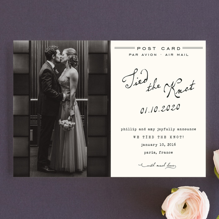 """""""Airmail"""" - Whimsical & Funny Wedding Announcement Postcards in Ivory by annie clark."""