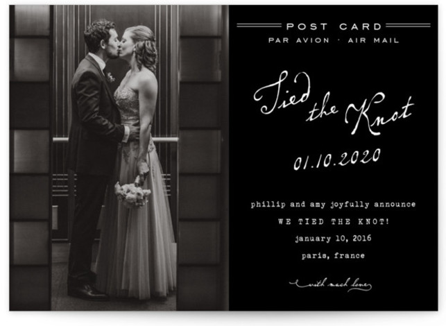 This is a landscape whimsical, black and white Wedding Announcements by annie clark called Airmail with Standard printing on Signature in Postcard Flat Card format. Smart and chic, our indie designed postcards let you share your exciting news with friends ...