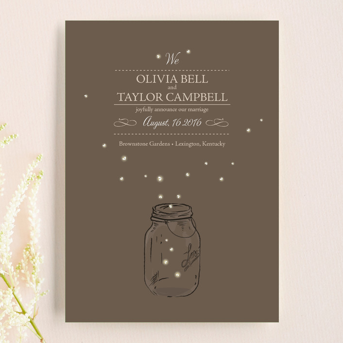 """Fireflies"" - Whimsical & Funny, Rustic Wedding Announcement Postcards in Zuni Brown by Paige Rothhaar."