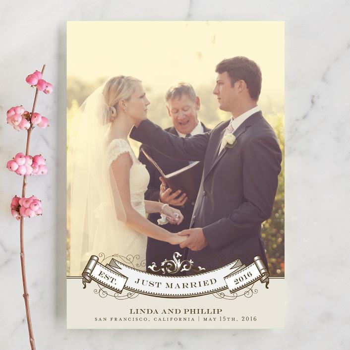 """Celebration"" - Vintage Wedding Announcement Postcards in Mocha by Milkmaid Press."
