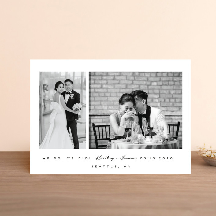 """""""meant to be"""" - Wedding Announcement Postcards in Tuxedo by Angela Garrick."""