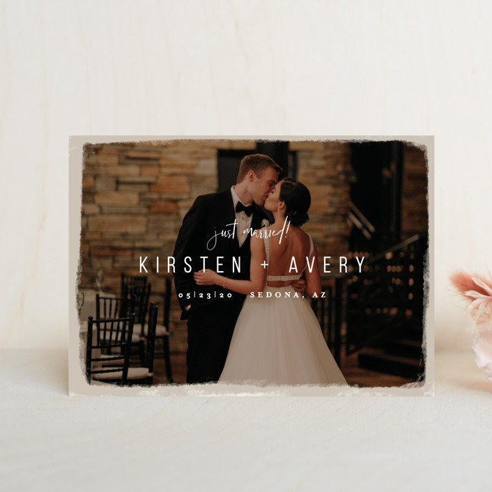 """""""Kindred"""" - Wedding Announcement Postcards in Nutmeg by Melissa Egan of Pistols."""