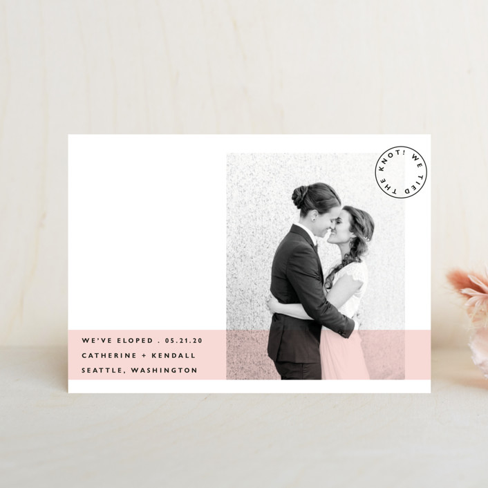 """Sealed with a Kiss"" - Wedding Announcement Postcards in Blush by Hudson Meet Rose."