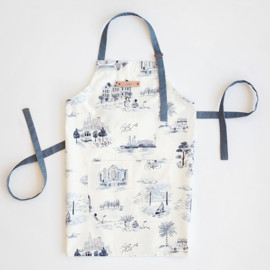 This is a blue apron by Surface Love called San Francisco Modern Toile in standard.