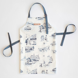 This is a blue apron by Surface Love called NYC Modern Toile.