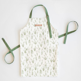 This is a white apron by Erin Deegan called Simple Sprig.