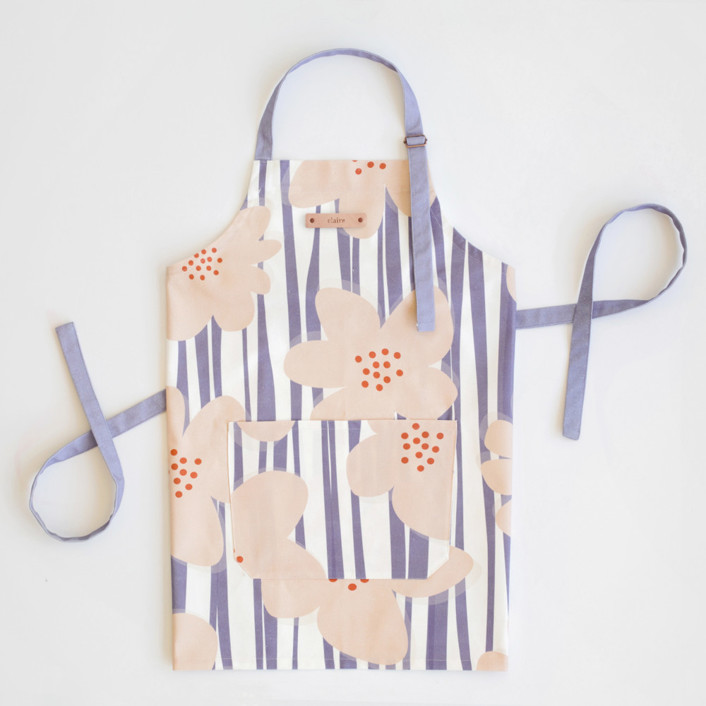Green Stripes with Pink Flowers Apron