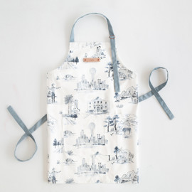 This is a blue apron by Surface Love called Texas Modern Toile.