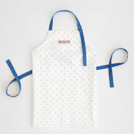 This is a blue apron by Erica Krystek called Modern Stitch in standard.