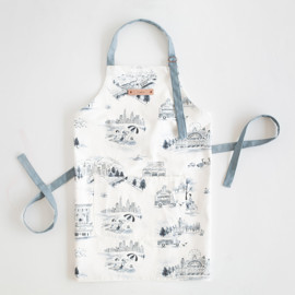 This is a blue apron by Surface Love called Chicago Modern Toile in standard.