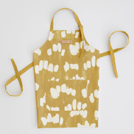 This is a yellow apron by Tishya Oedit called Abstract Texture in standard.