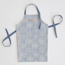 This is a blue apron by Alethea and Ruth called Dashed Stripes in standard.