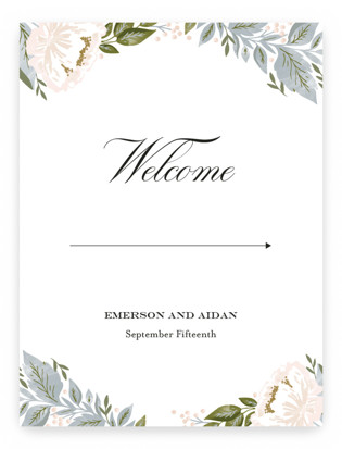 peony floral frame Large Signs