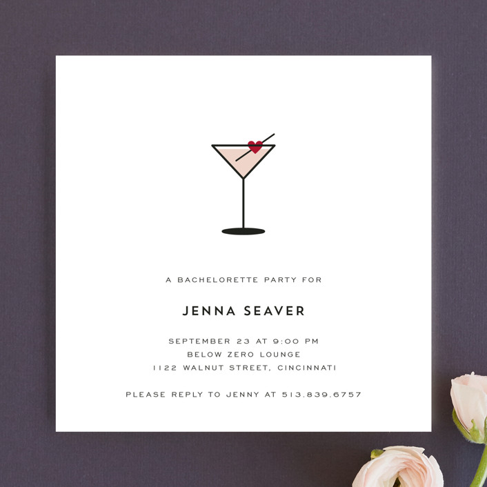 """Love Cocktail"" - Modern Bachelorette Party Invitations in Berry by Kim Dietrich Elam."