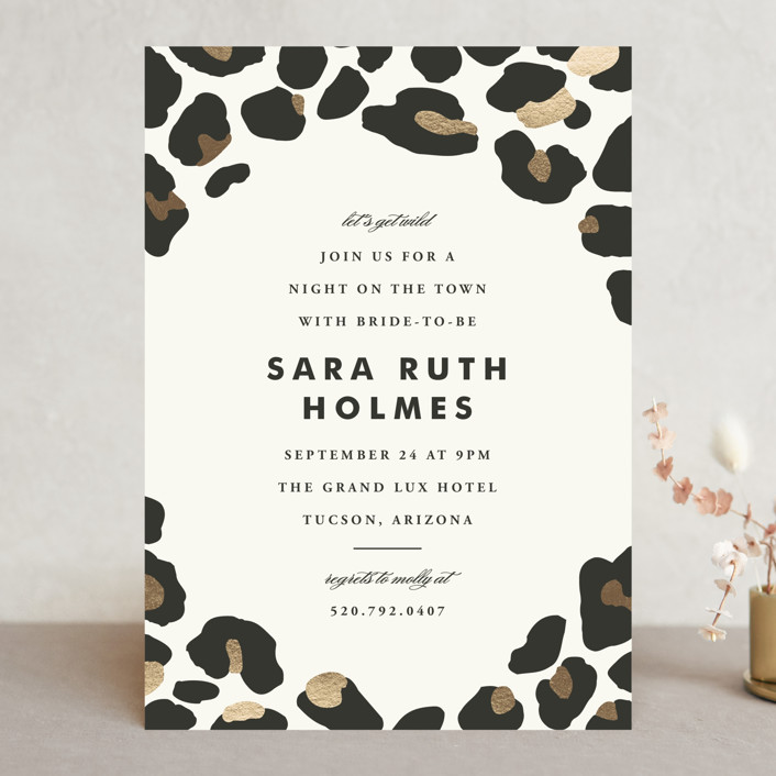 """On The Wild Side"" - Whimsical & Funny Bachelorette Party Invitations in Brass by Kimberly Morgan."