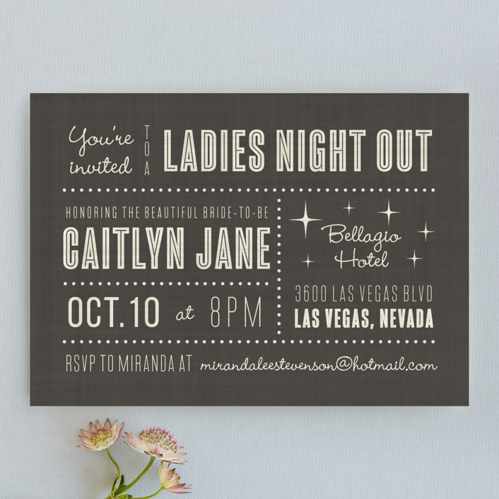 """""""Lucky in Love"""" - Bold typographic, Destination Bachelorette Party Invitations in Charcoal by Susan Asbill."""