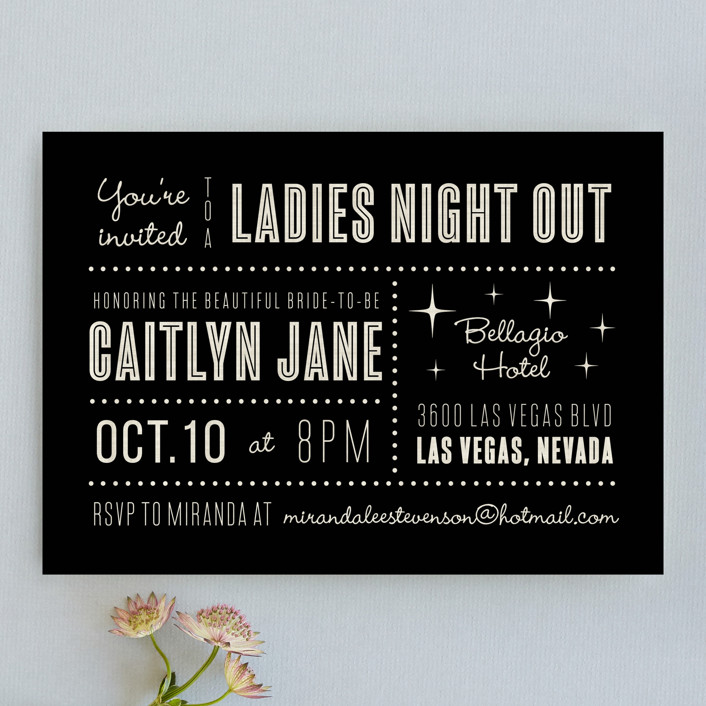 """Lucky in Love"" - Bold typographic, Destination Bachelorette Party Invitations in Black by Susan Asbill."