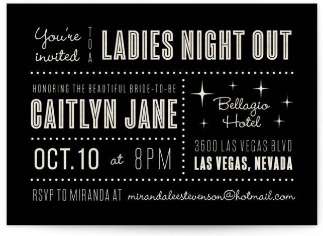 """This is a landscape bold typographic, destination, vintage, black Bachelorette Party Invitations by Susan Asbill called Lucky in Love with Standard printing on Signature in Classic Flat Card format. 7"""" x 5""""Size. Our unique wedding party invitations are fully customizable, ..."""