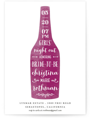 Winery Bachelorette Party Invitations