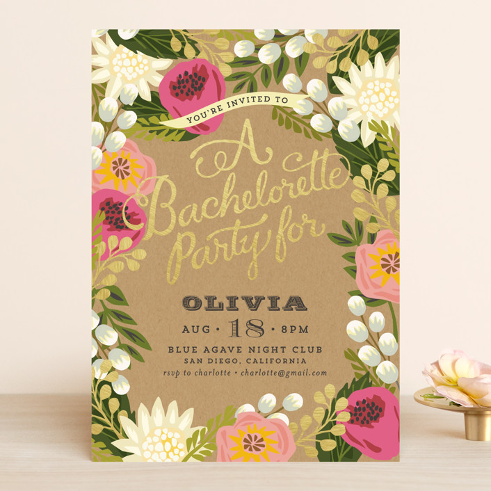 """""""Floral Canopy"""" - Rustic Bachelorette Party Invitations in Peony by Griffinbell Paper Co.."""