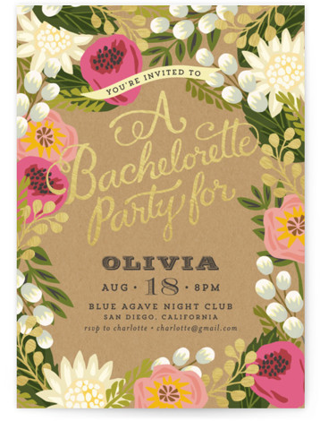 """This is a portrait botanical, rustic, pink, gold Bachelorette Party Invitations by Griffinbell Paper Co. called Floral Canopy with Standard printing on Signature in Classic Flat Card format. 5"""" x 7""""Size. Our unique wedding party invitations are fully customizable, sourced ..."""