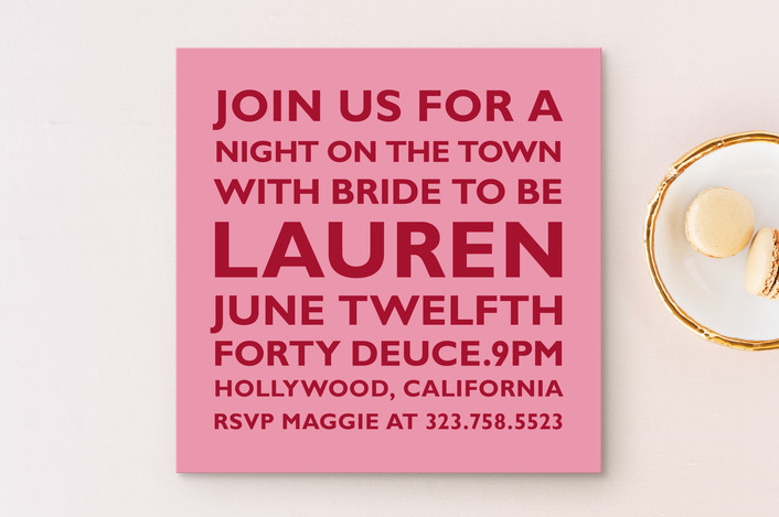 """Block"" - Modern Bachelorette Party Invitations in Azalea by The Social Type."