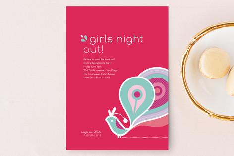 Peacock Ladies Night Out Invitations