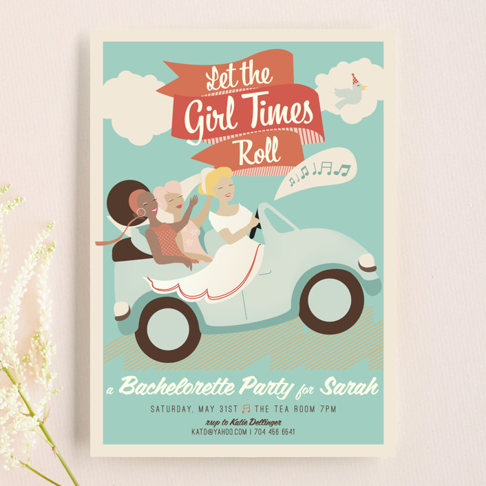 """Let the Girl Times Roll!"" - Vintage Bachelorette Party Invitations in Teal by Lori Wemple."