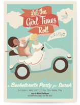 This is a blue bachelorette party invitation by Lori Wemple called Let the Girl Times Roll! with standard printing on signature in standard.