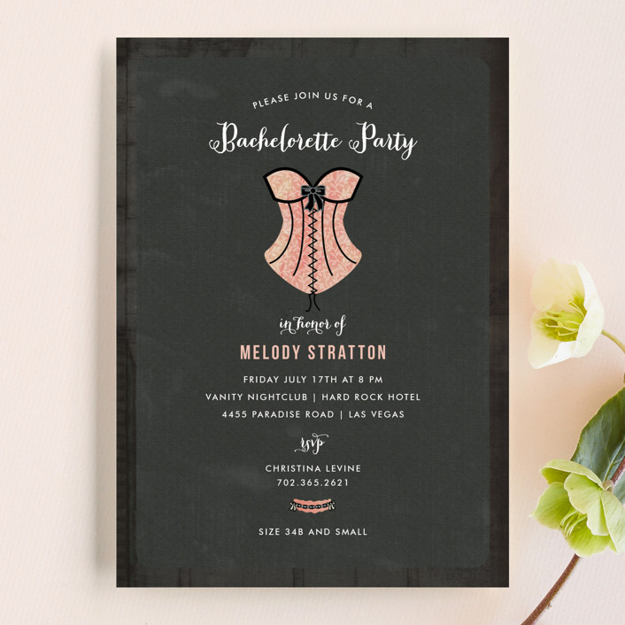 Corset bachelorette party invitations by wendy van ryn minted corset whimsical funny bachelorette party invitations in blush by wendy stopboris