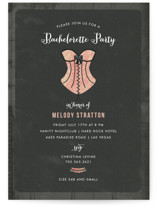 This is a pink bachelorette party invitation by Wendy Van Ryn called Corset with standard printing on signature in standard.